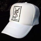 Square parody crash Swarovski cap white
